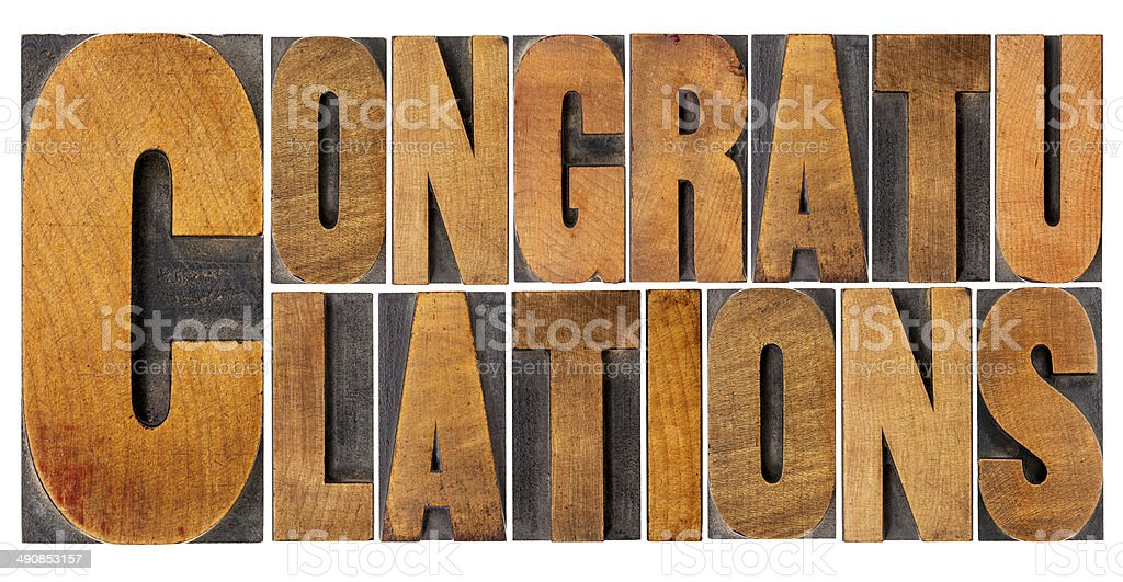 congratulations in wood type stock photo