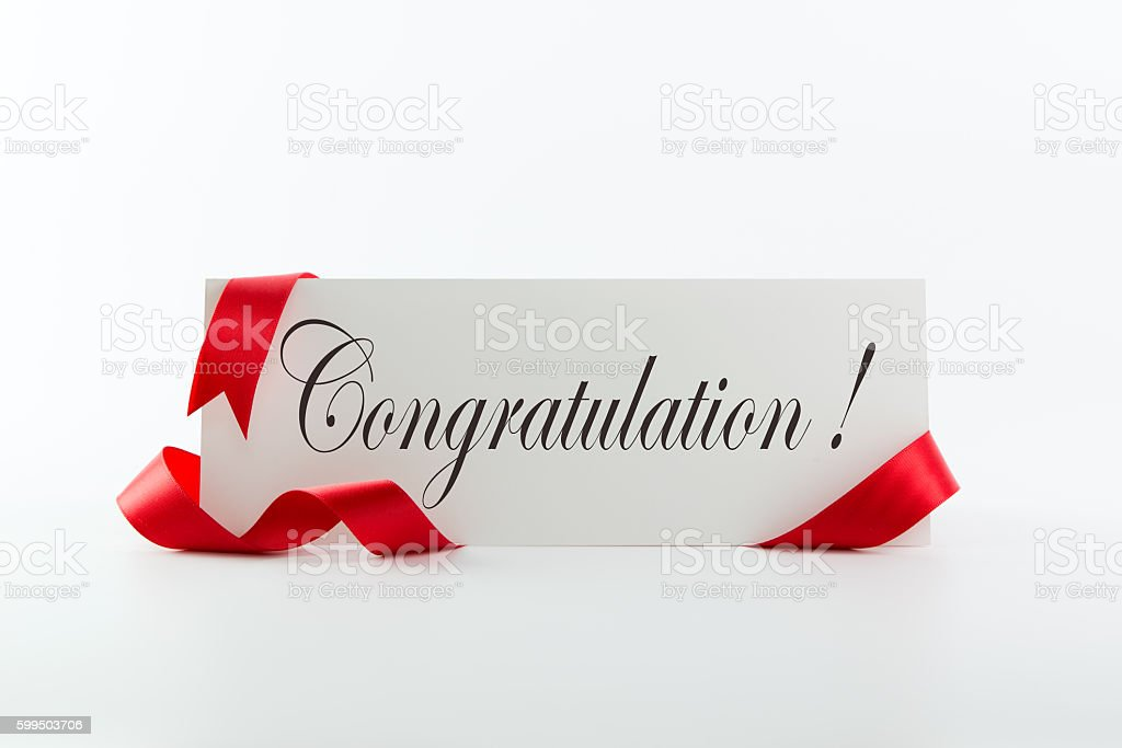 Congratulations note or greeting card stock photo