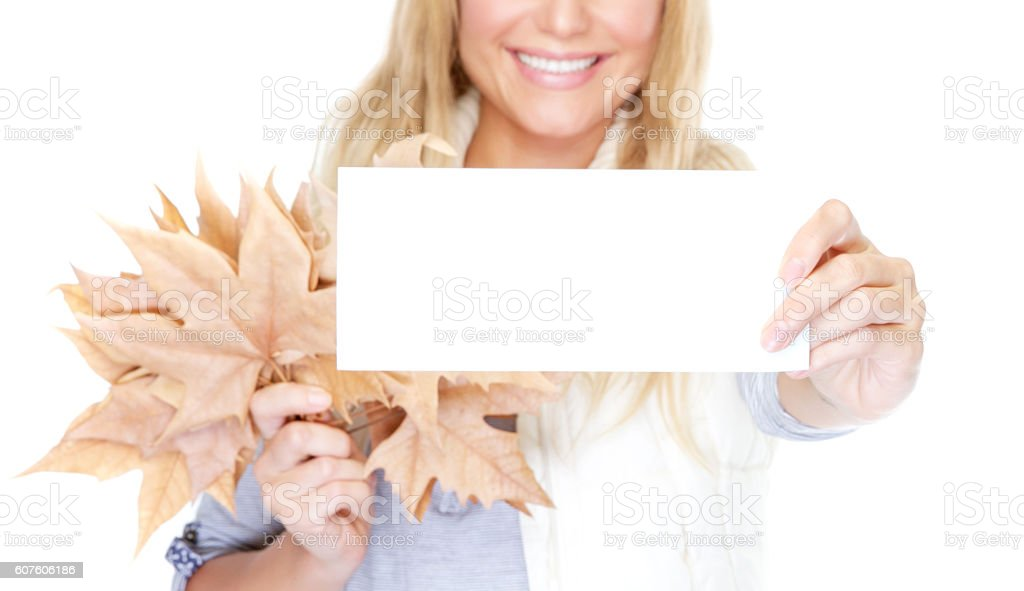 Congratulations on the advent of autumn stock photo