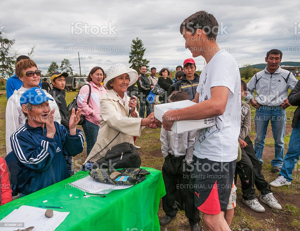 Congratulations to the winners of the national celebration Ysyakh stock photo