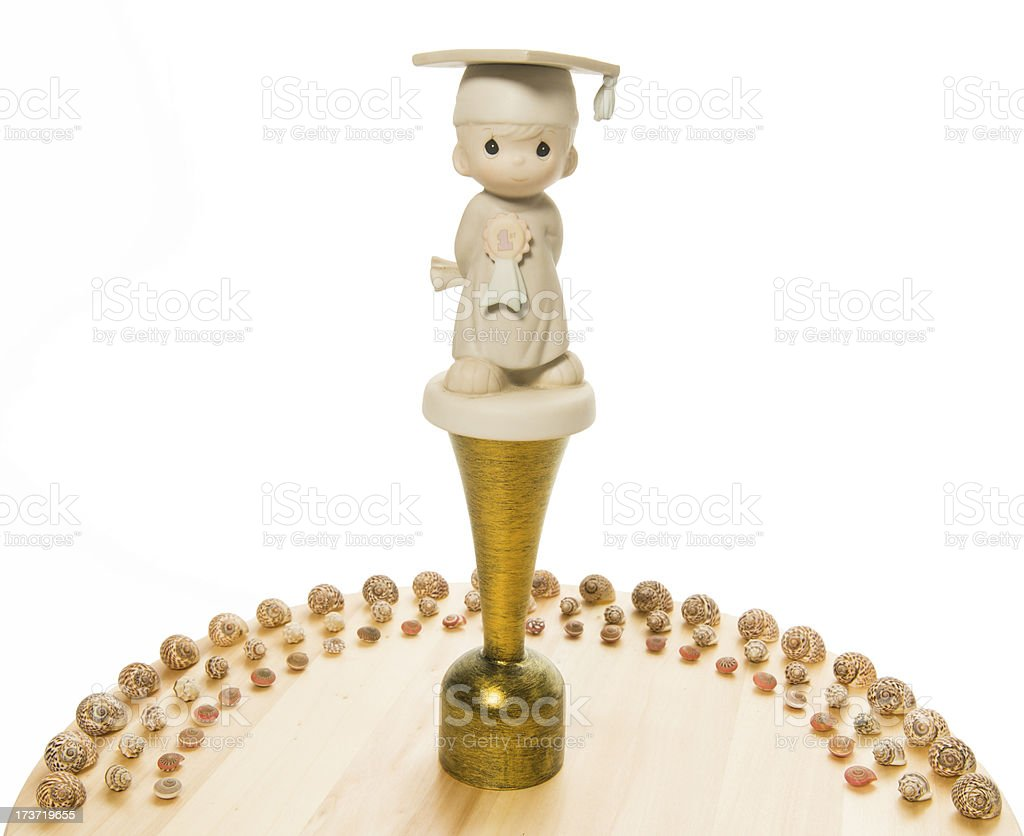 Congratulations Trophy with sea shell half circle royalty-free stock photo