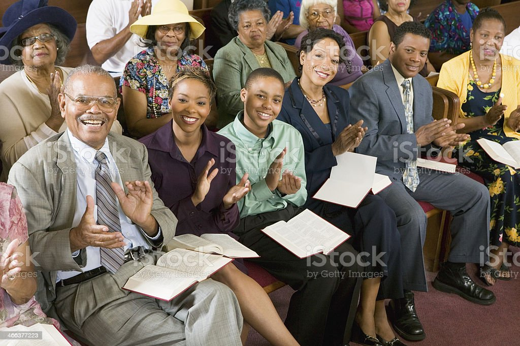 Congregation Clapping at Church stock photo