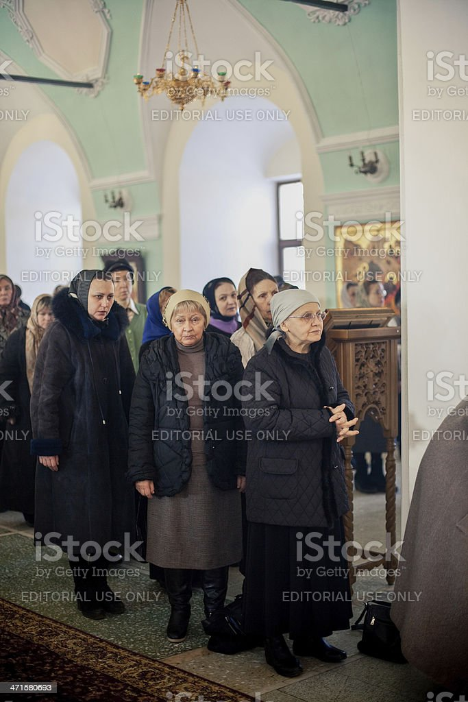 congregation stays and listens Orthodox liturgy royalty-free stock photo