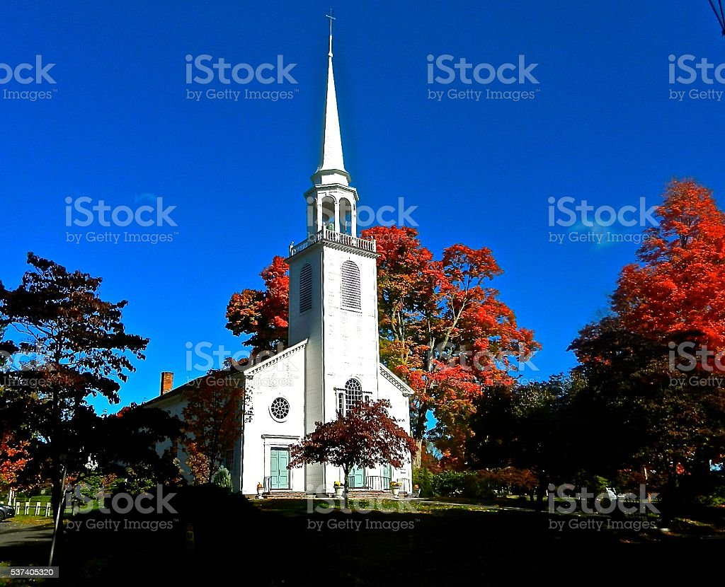 Congregational Church in New England stock photo