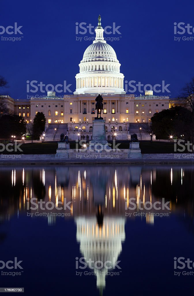 US Congress at night, in reflection stock photo