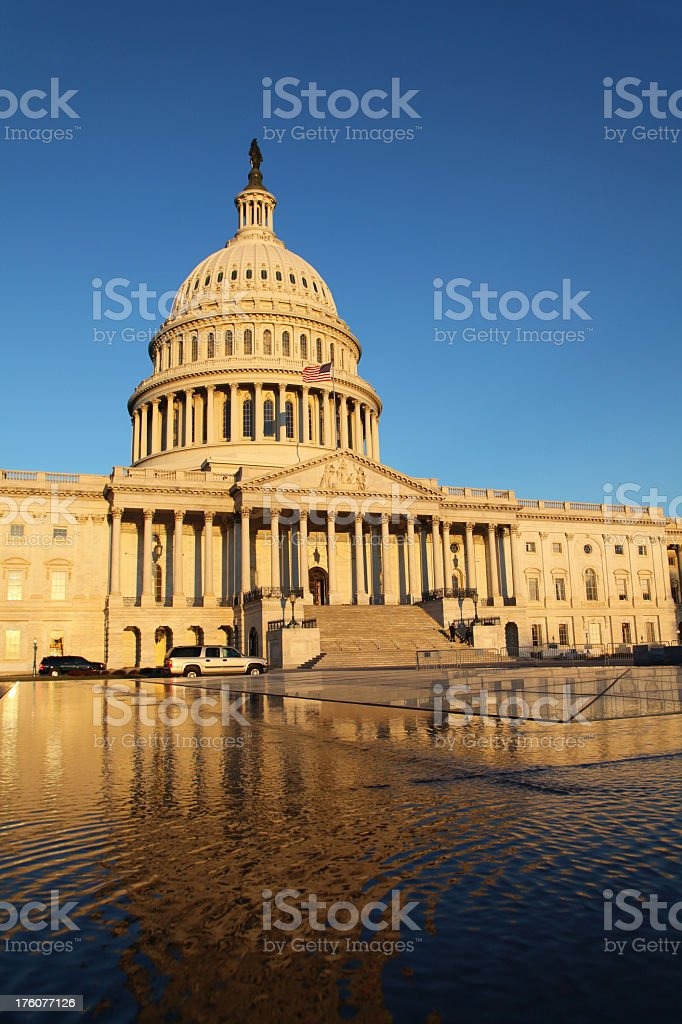 US Congress at Sunrise, in reflection stock photo