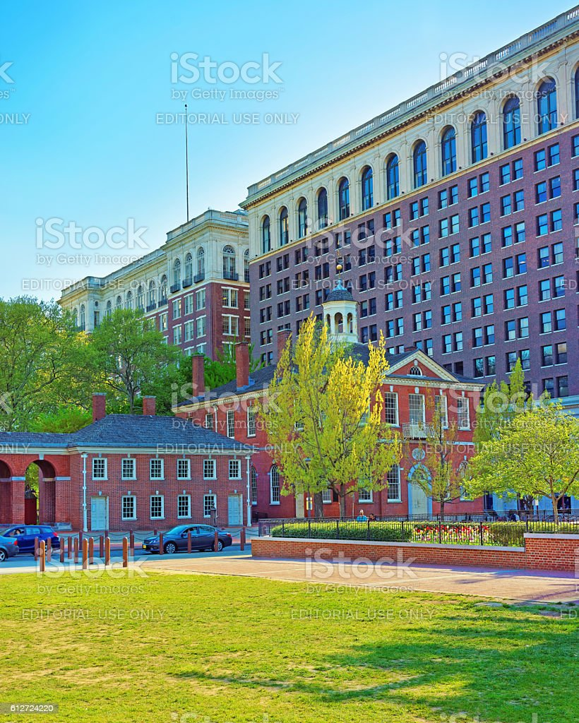 Congress Hall in Philadelphia in PA in the evening stock photo