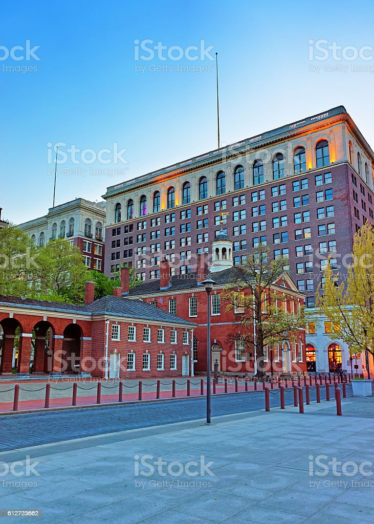 Congress Hall in Philadelphia in the evening stock photo