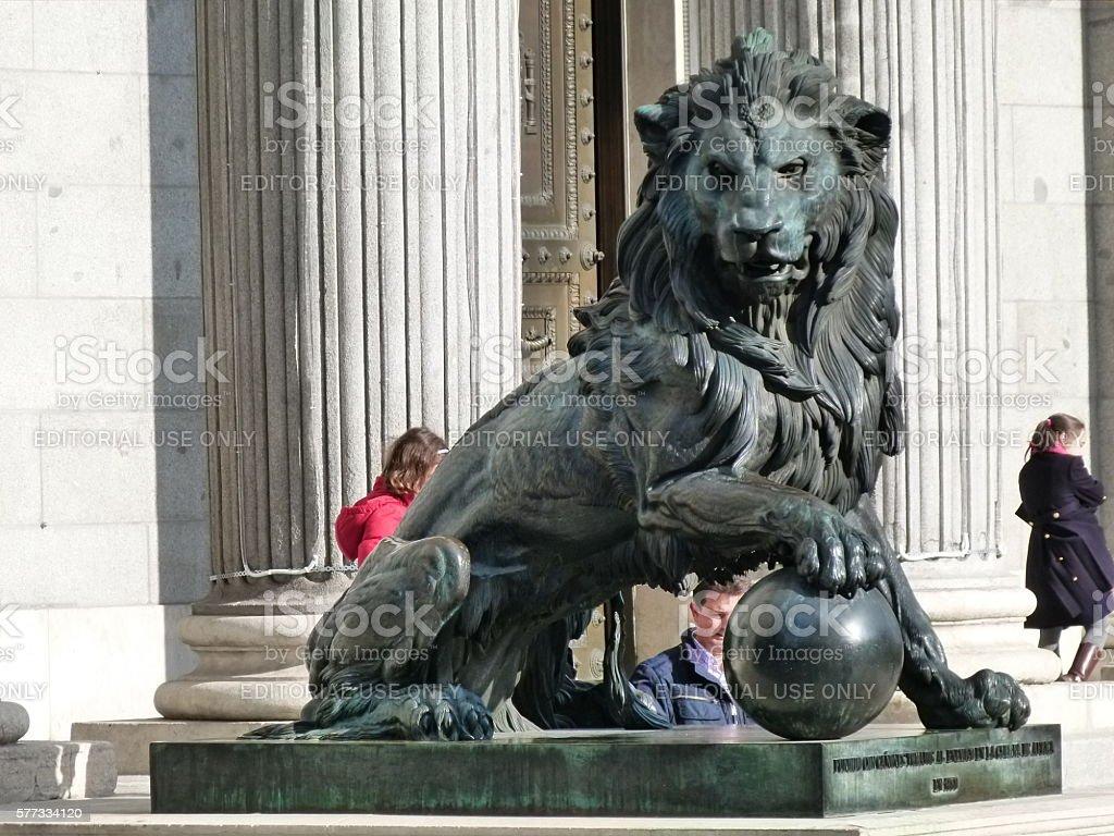 Congress of Spain (lion) stock photo