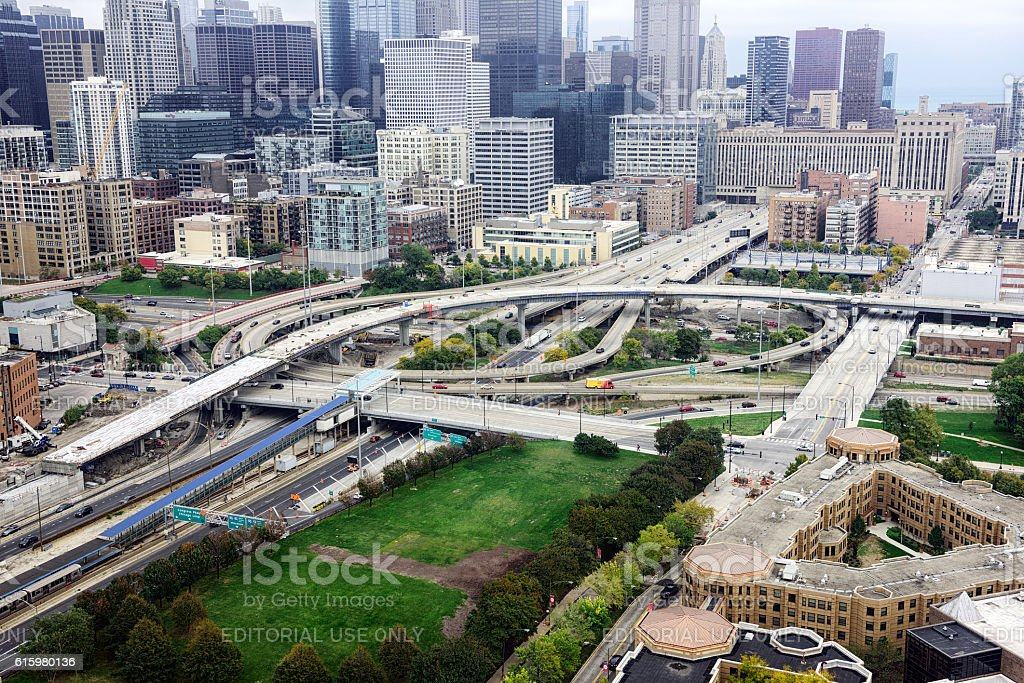 Congress Parkway and  Circle Interchange, Chicago stock photo