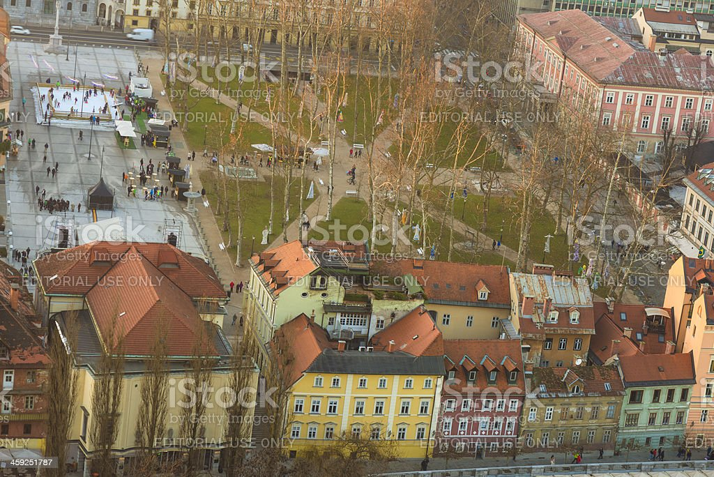 Congress square Ljubljana stock photo