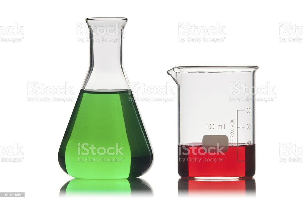 Conical flask and beaker. stock photo