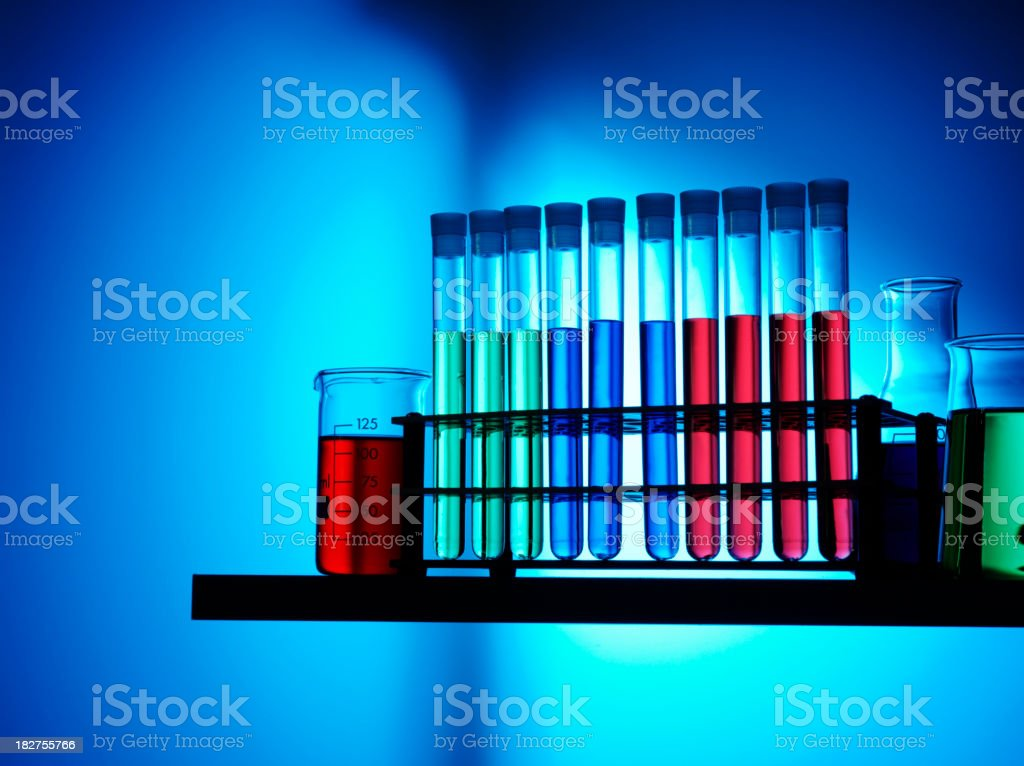 Conical Flask Test Tubes and Scientific Beakers royalty-free stock photo