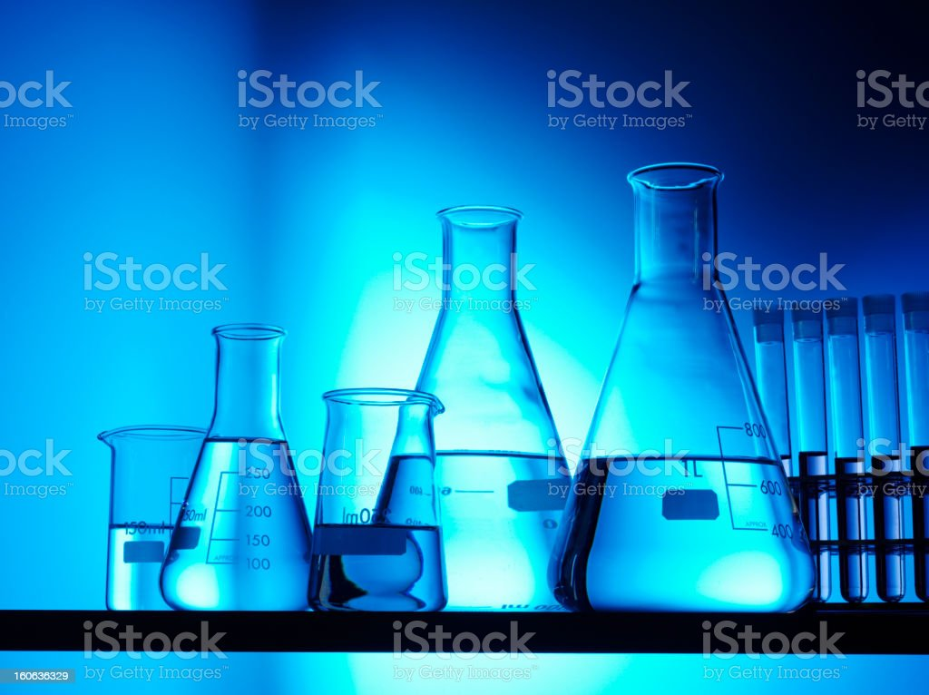 Conical Flasks and Research stock photo