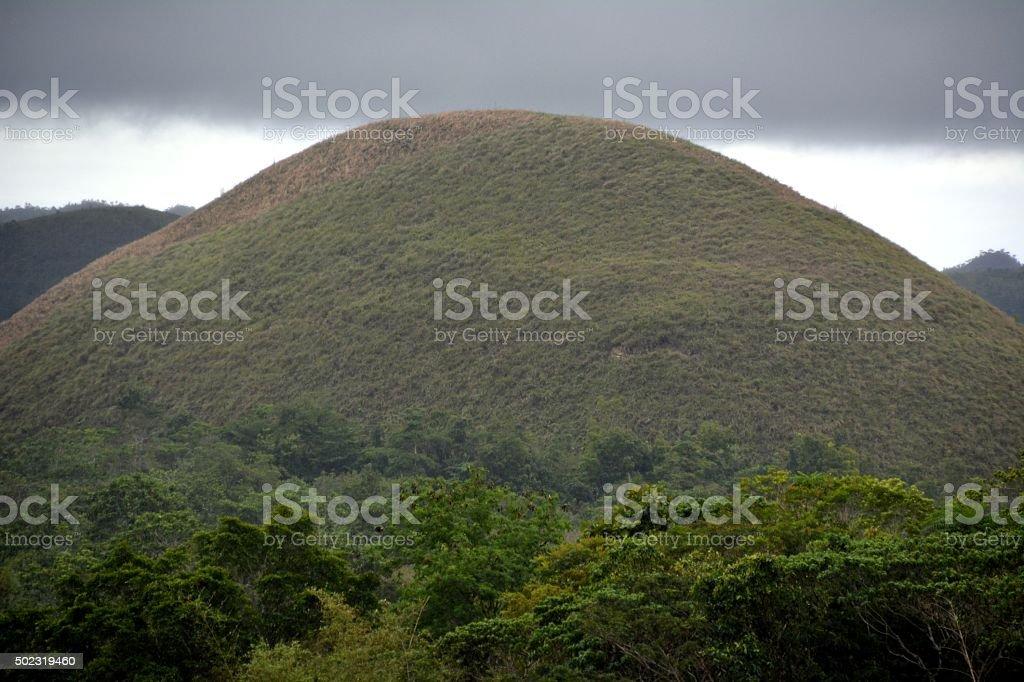 Conical shaped Chocolate Hills on Bohol island stock photo