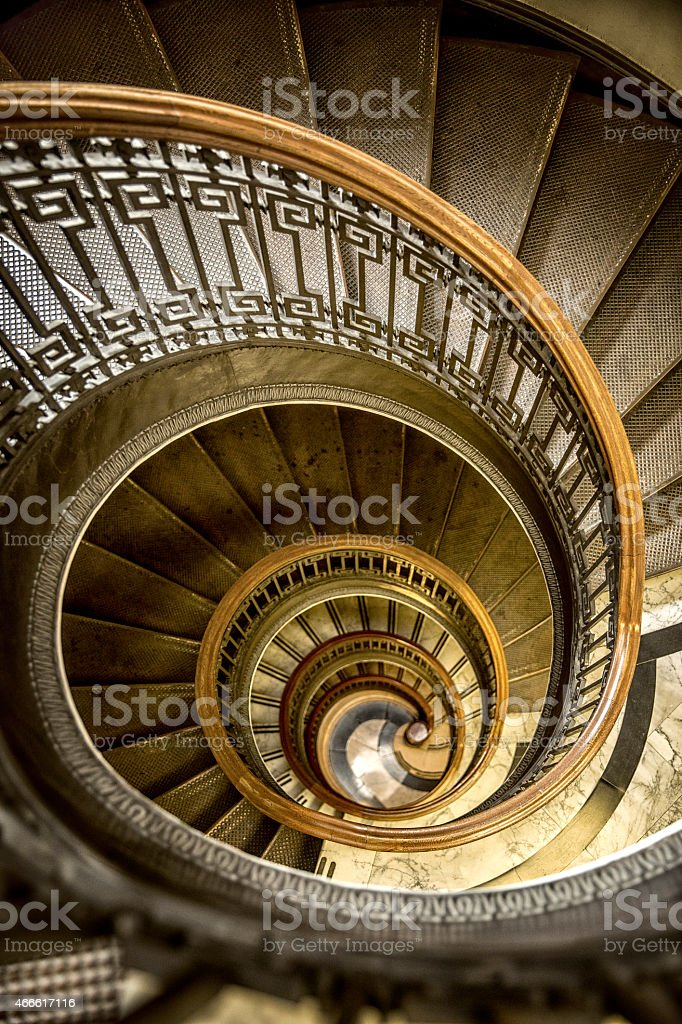 Conical Shaped Old Spiral Staircase stock photo