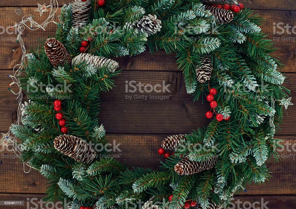 Conifer wreath stock photo