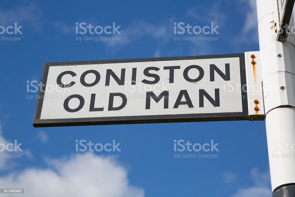 Coniston and Old Man Signpost, Lake District stock photo
