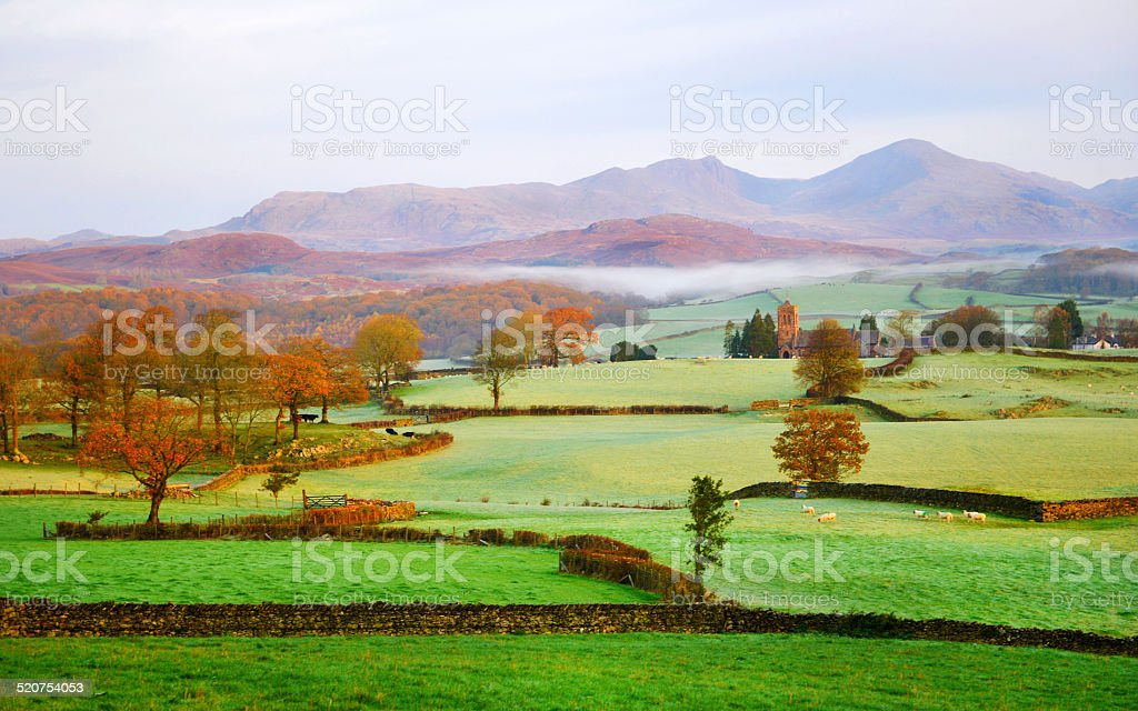 Coniston Fells on a Cold and Frosty Morning stock photo