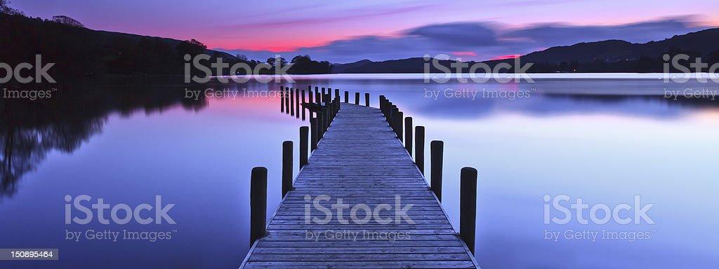Coniston Jetty Panoramic stock photo