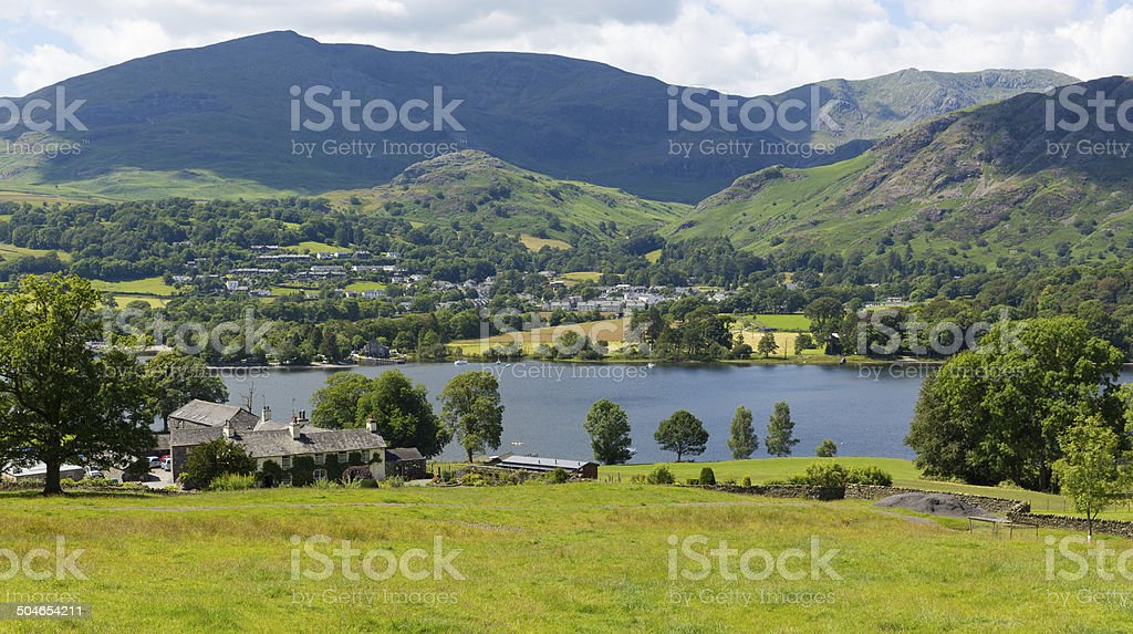 Coniston Lake District England uk with mountain on summer day stock photo