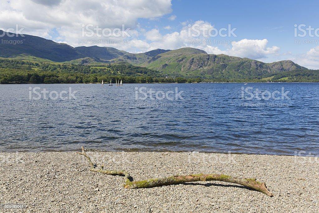 Coniston lake The Lakes National Park England uk sunny day stock photo
