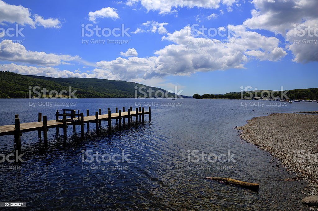 Coniston water Lake District England jetty and blue sky stock photo