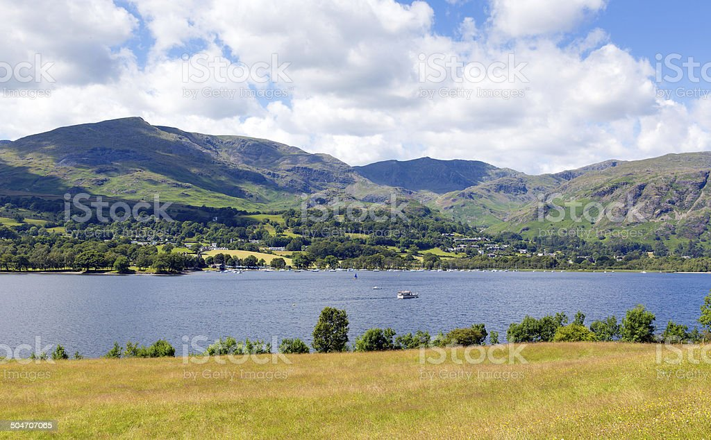 Coniston Water Lake District England uk with mountains in summer stock photo