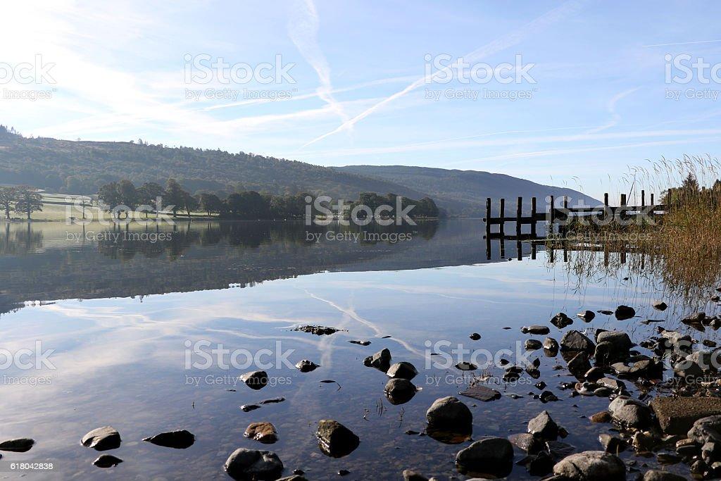 Coniston water mirror image stock photo