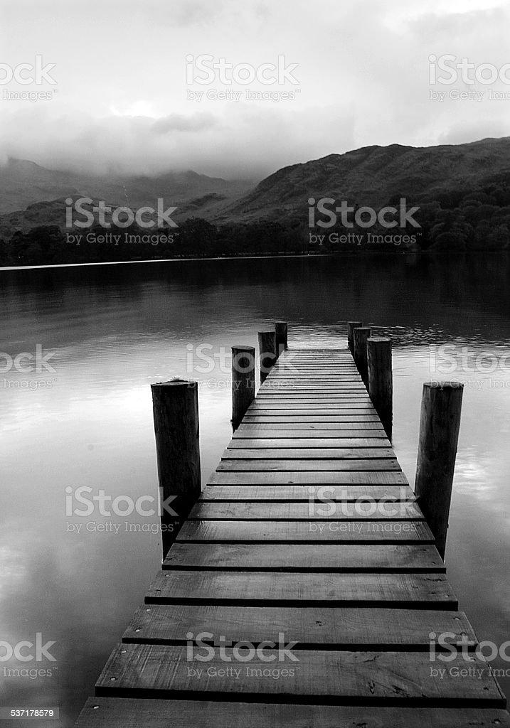 Coniston Water pier stock photo