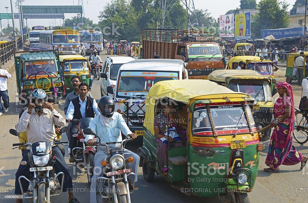 conjested traffic, Agra, Uttar Pradesh, India royalty-free stock photo