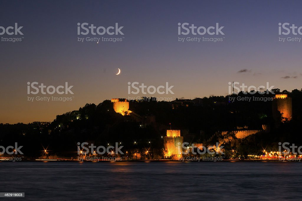 Conjuction of Venus and the Crescent Moon royalty-free stock photo