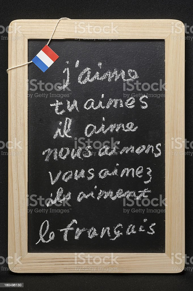 Conjugation of a French verb stock photo