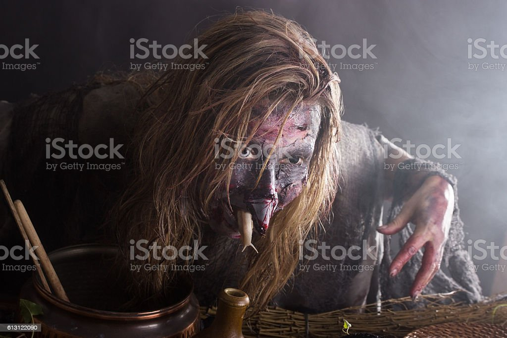 Conjuring witch stock photo
