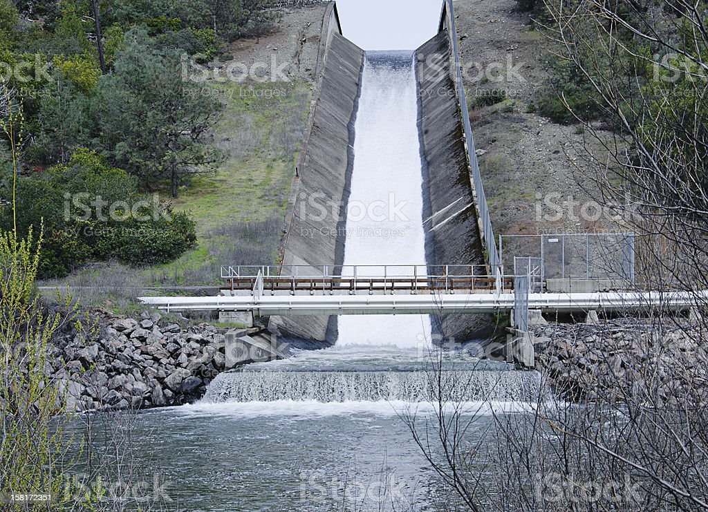Conn Dam spillway releases water to supply Napa County, California stock photo