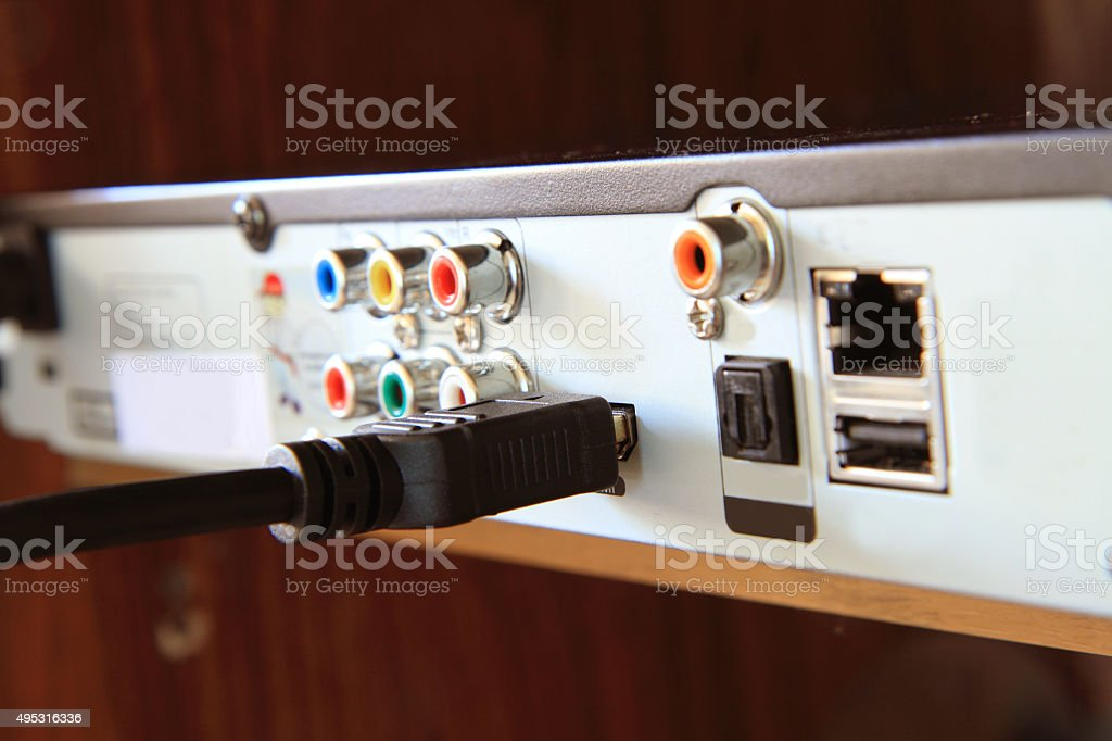 connect HDMI cable stock photo