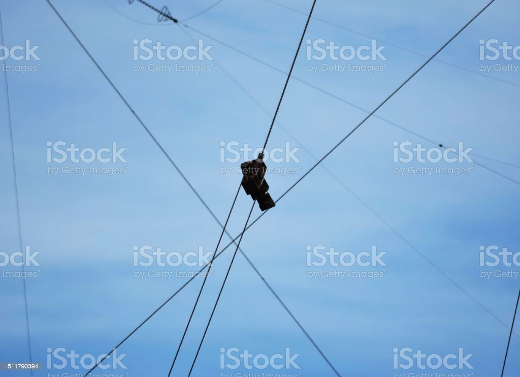 Connect the two cables to metal fastening strength stock photo
