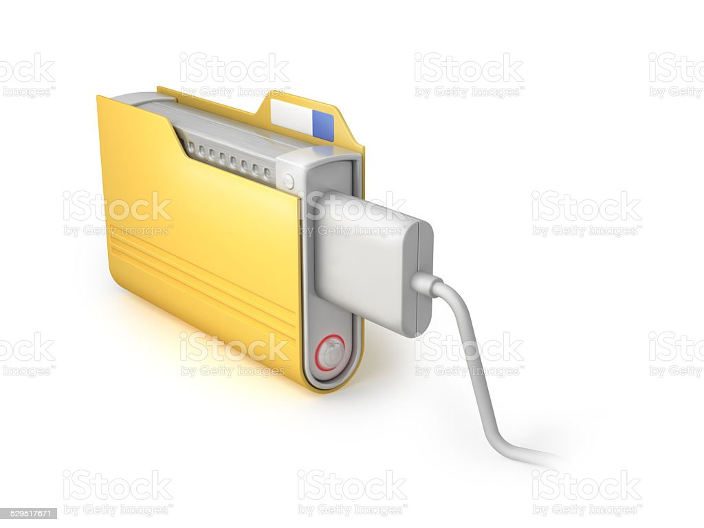 Connect the USB cable to the hard drive ideas image. stock photo