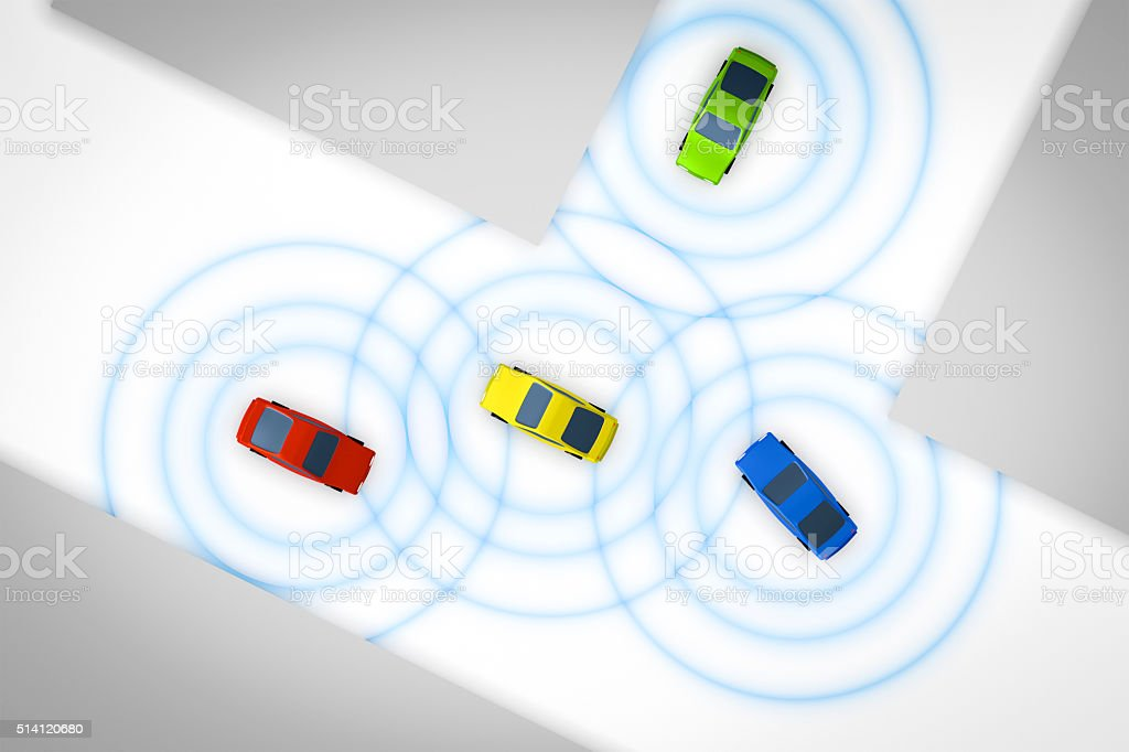 connected autonomous cars stock photo