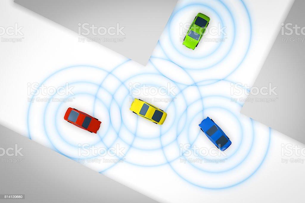 connected autonomous cars stock photo