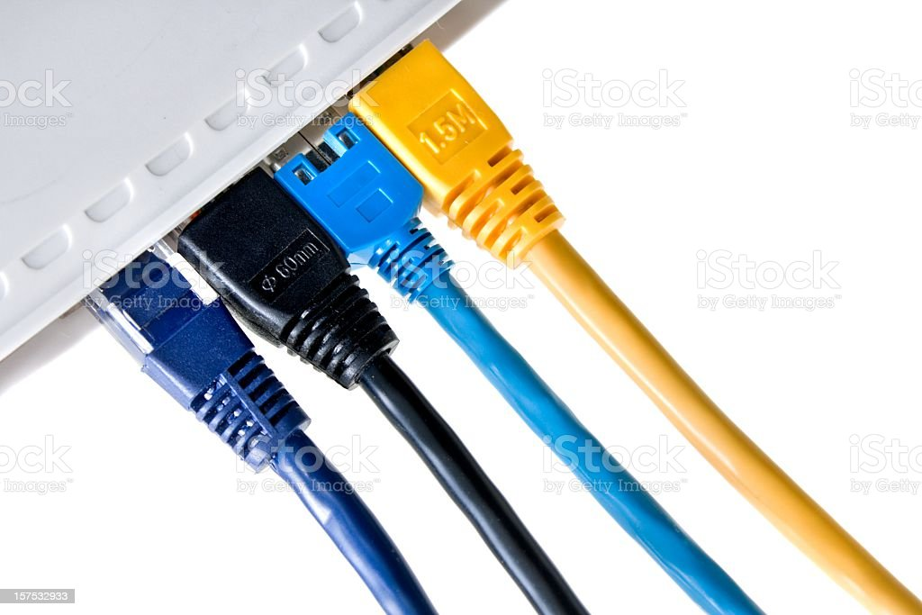 connected! cable pluggeg in lan router on white stock photo