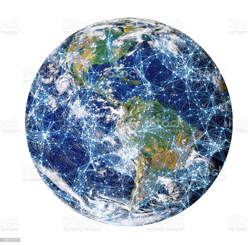 Connected globe stock photo