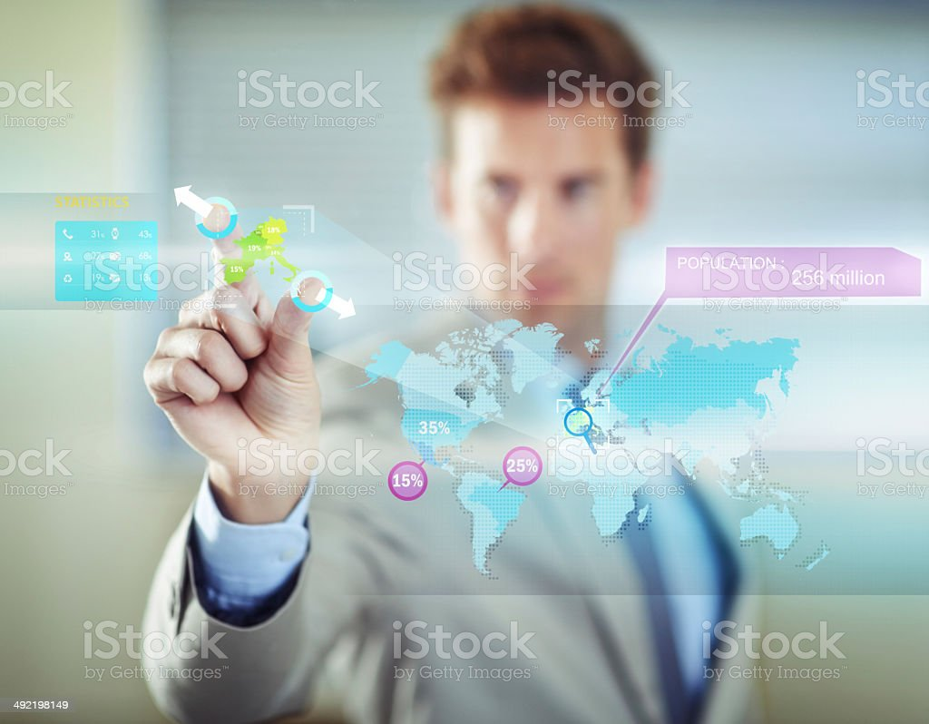 Connected to a global market stock photo