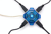 Connected usb hub with blue light