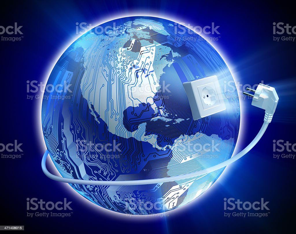 Connected world concept: Earth with circuits and power plug royalty-free stock photo