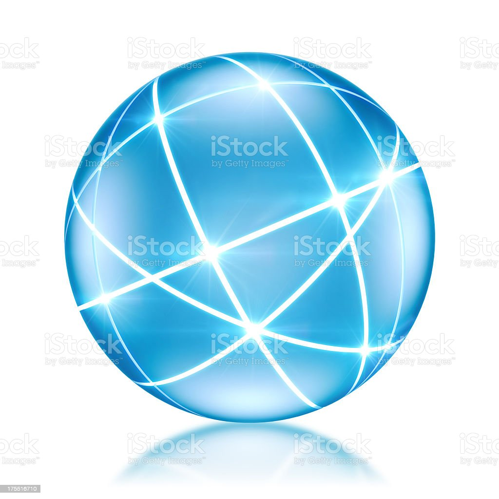 Connected World concept - Globe with glowing lines royalty-free stock photo