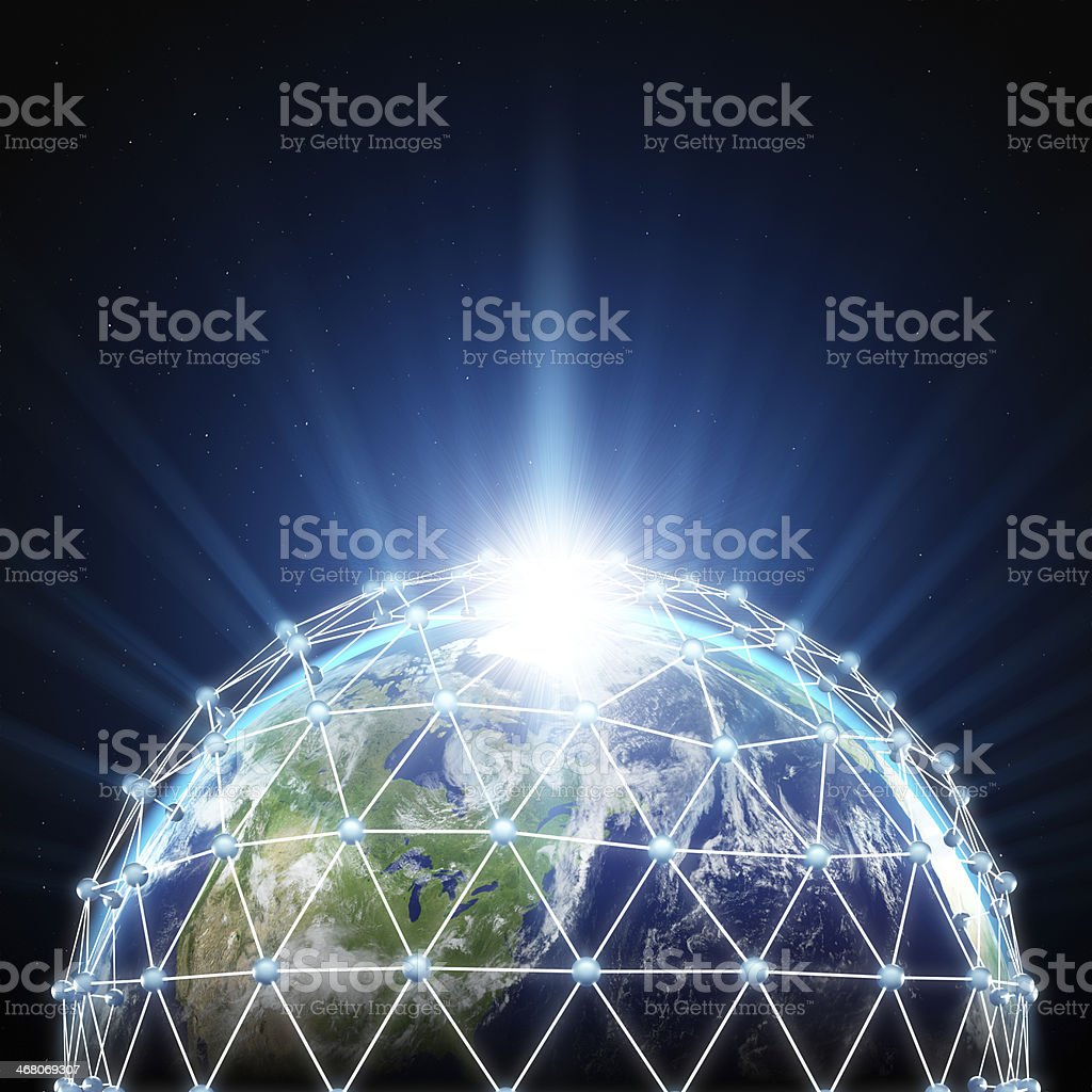 Connected World - earth surrounded by network stock photo