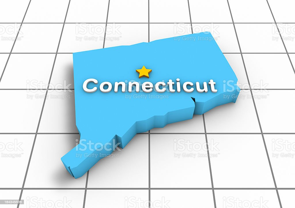 Connecticut 3D State Map stock photo