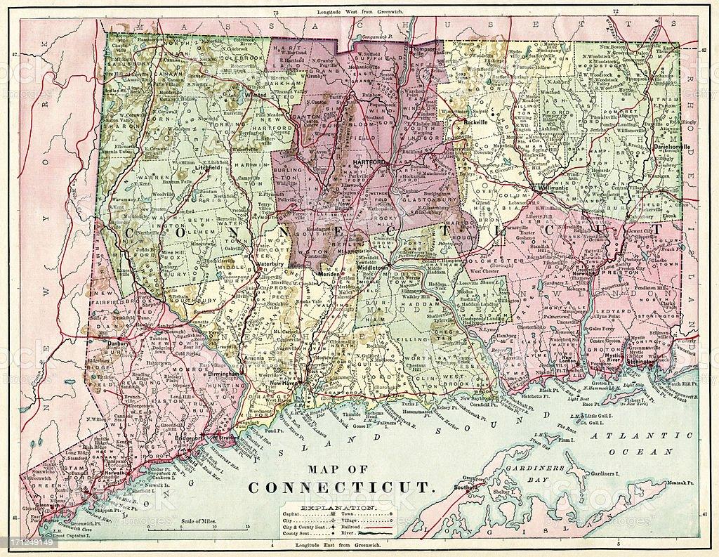 Connecticut Map 1884 XXXL stock photo