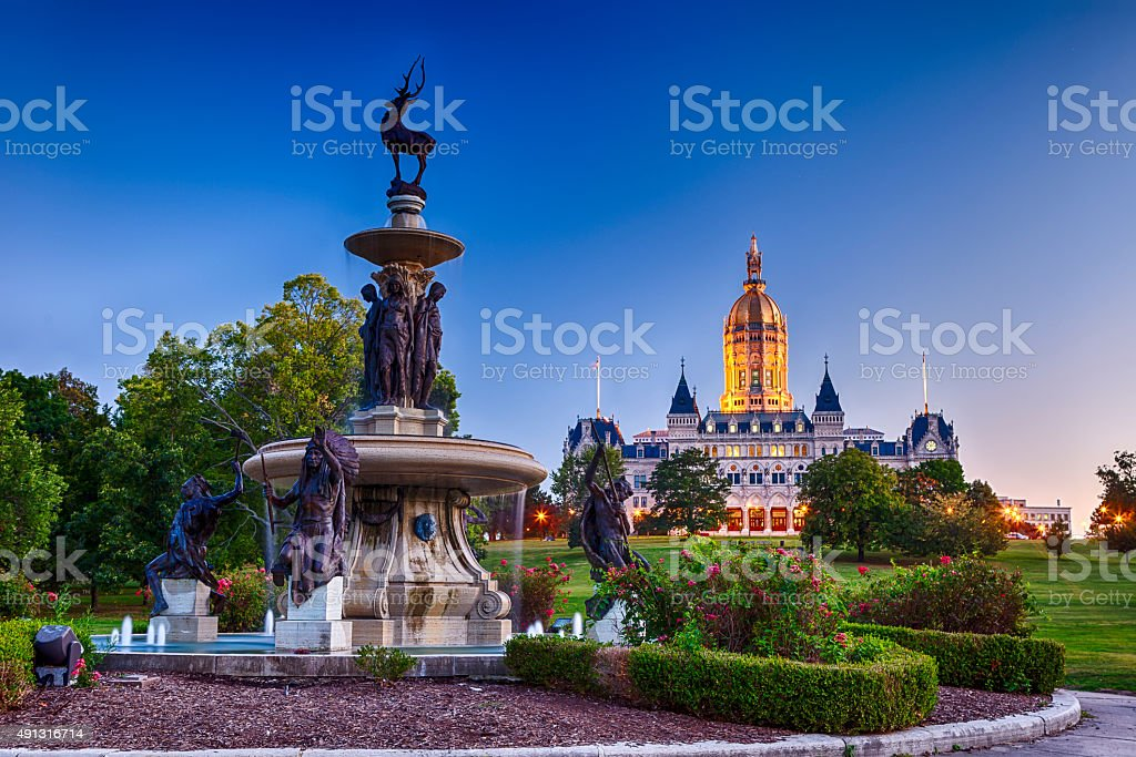 Connecticut State Capitol In Hartford With Fountain In Foreground stock photo